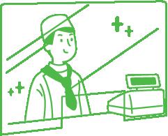 レジとお客様の間にアクリル板等の仕切りを設置